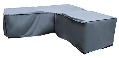 Funda / Cover / Protectora para Sofá de la esquina | 210 x 270 x 85 x 65/90 cm (L x A x A) | Gris | Resistente al Agua | SORARA | Poliéster (UV 50+) | Para exterior Muebles de Jardín, Terraza, Patio