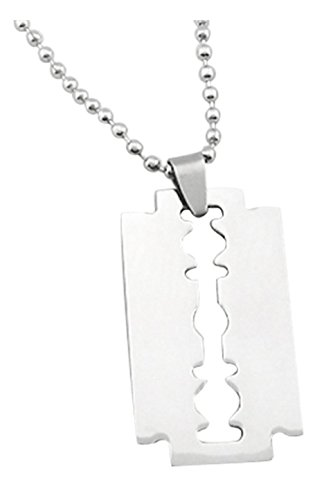 REFURBISHHOUSE Maenner Edelstahl Rasierklinge- Anhaenger Ketten Halskette Silber