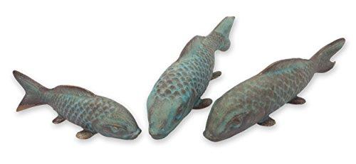 Novica 542.770,1cm Glückliche türkis Koi Keramik Figuren, Set von 3 (Koi Glücklich)