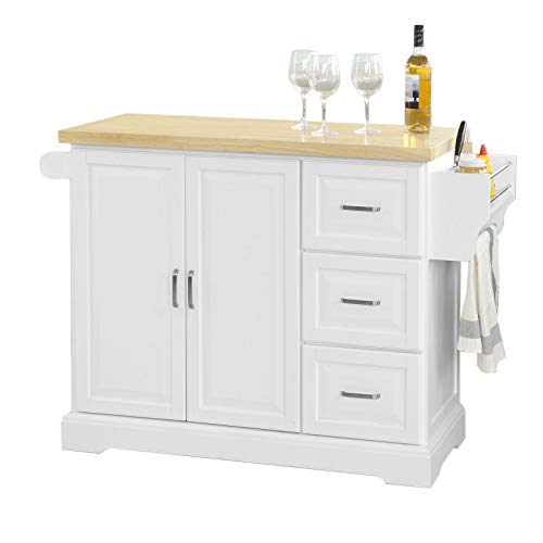 SoBuy® Küchenwagen, Küchenschrank, Plan aus Hevea ist ausziehbar, mit Rollen, fkw41-wn, It