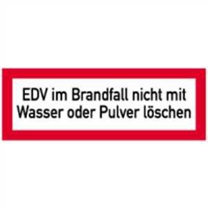 Aufkleber EDV im Brandfall nicht mit Wasser oder Pulver löschen Folie 105x297mm Wasser Folie Aufkleber