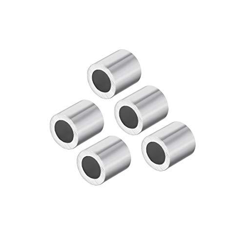 sourcing map M5 Manchon aluminium 5mm à sertir Câble Acier Bouton Stop 5 Pcs Clips