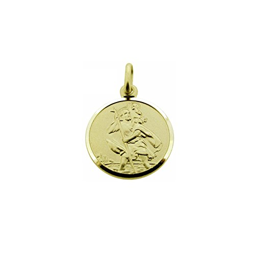 CJoL - 9ct Yellow Gold Boys 10mm Round St Christopher Pendant With Optional Chain In Gift Box