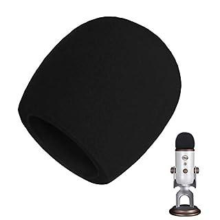 AOBETAK Popschutz Groß Schaumstoff für Mikrofon,Mikrofon Windschutz für Blue Yeti, Yeti Pro Kondensator mikrofon,Schwarz