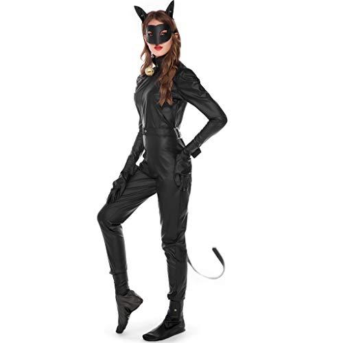 Baby Katze Kostüm Frau - GJKK Kostüme für Erwachsene Halloween Magie Hexe Jumpsuit Schwarze Katze Frau Overalls Party Kostüm Cosplay(Overall + Ohr + Maske + Gürtel + Glocke + Handschuhe + Fußschutz + Armband + Fußring)