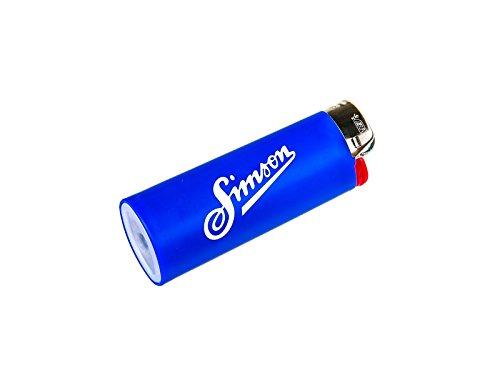 SIMSON weich BIC-Feuerzeug blau, Allzeit Gute Fahrt, Simson Retro - mit Chromkappe
