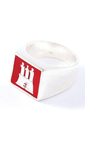 Hamburg Schmuck Ring TPR002 Silber rot, Farbe:rot;Ringgröße:68