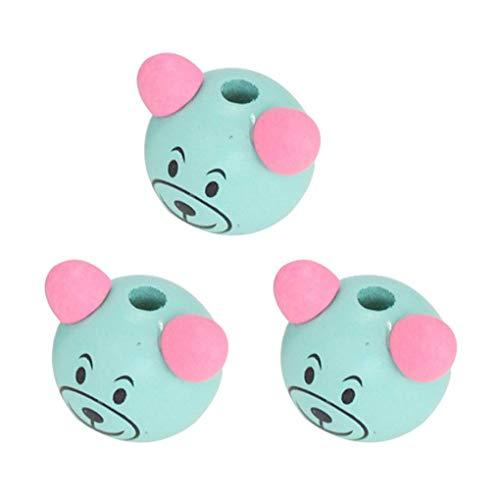Arichtop 3pcs Cartoon Bear Head Perles enfants Mode bricolage jouet Accessoires Bijoux adorable Faire Decor