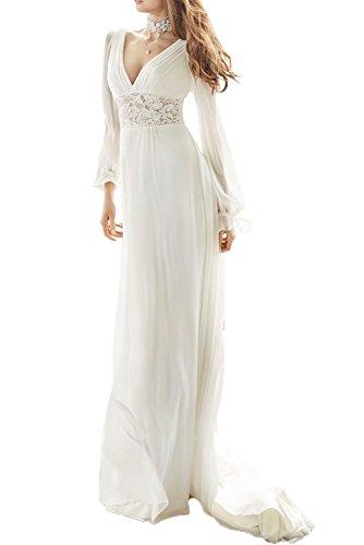 Gorgeous Bride Sexy V-Ausschnitt Rückenfrei Lang Ärmel Brautkleider Lang 2017 Damen Ballkleider Abendkleider Partykleider Cocktailkleider Lang Elfenbein
