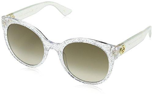 Gucci Damen GG0035S 007 Sonnenbrille, Silber (Silver/Brown), 54