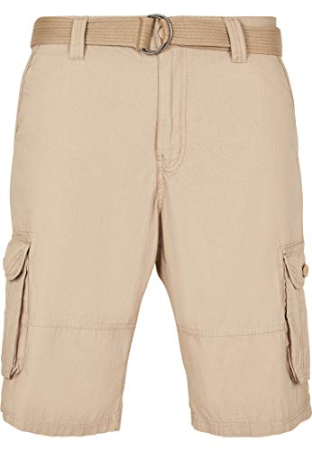 Southpole Herren Belted Ripstop Cargo Shorts, Khaki, 42 (Cargo Short-khaki Ripstop)