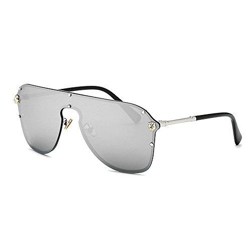 Yiph-Sunglass Sonnenbrillen Mode Damen Sonnenbrillen One Piece Style Damen übergroße Sonnenbrille mit Leopard Dekoration Metallrahmen UV-Schutz für Frauen Bunte Objektiv Fahren (Farbe : Silber)