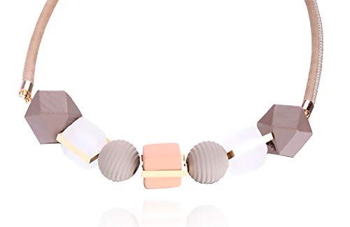 Topasaire Halsketten Für Frauen Modeschmuck Damen Einfache Herbst und Winter Rosa Geometrische Holzperlen Gemischte Farbe Transparente Kurze Kette Anhänger Schmuck Deko Party Zubehör Geschenk