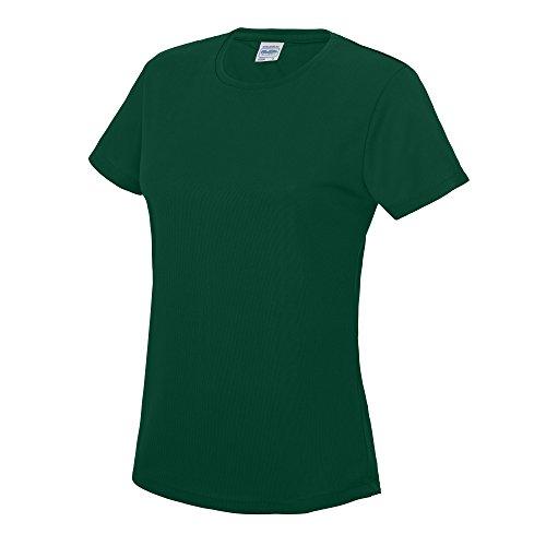 Just Cool Damen Sport T-Shirt unifarben Large,Flaschengrün (Cooles T-shirt Grünes)