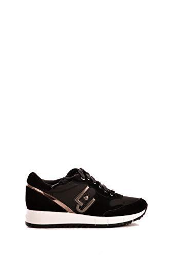 40f7835831d01 Scarpe Donna Sneakers Liu Jo Gigi 02 Running Cow Suede Nylon Black Nere  Nuove