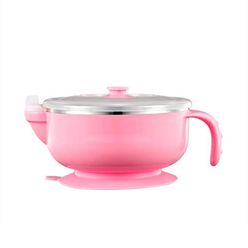 Love lamp Bol De Meunier pour Enfants Bol De Vaisselle en Acier Inoxydable pour Bébé en Acier Inoxydable (Color : Pink)