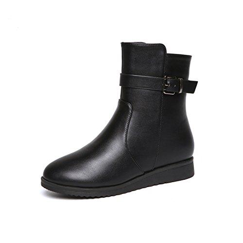 KPHY-- Stivali Invernali Di Moda Femminile Con Un Velluto Martin Piatta Con Comodi Stivali Di Pelle black