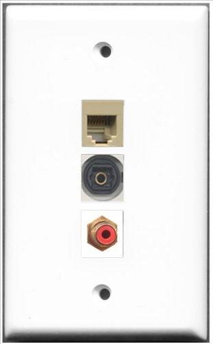 RiteAV-1Port RCA Red und 1Port RJ11, RJ12, beige und 1Port Toslink-Wall Plate Rca Modular Wall Outlet