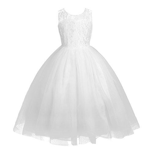 iEFiEL Festliches Mädchenkleid Blumen-Mädchen Lange Hochzeit Festlich Kleid  Kinder Partykleid Gr. 92-164 Weiß 140 759626af29