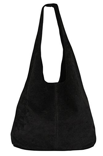 Damen Ledertasche Shopper Wildleder Handtasche Schultertasche Beuteltasche WL818 (Schwarz) -