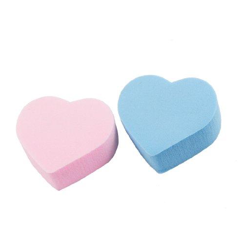 Sourcingmap Forme de cœur Lady Outil de nettoyage du visage Tampons de coton, rose/bleu – 2 Pièces