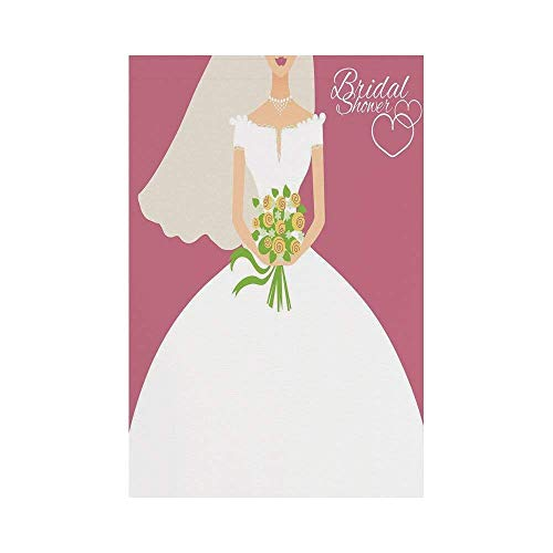 y Manual Custom Garden Flag Demonstration Flag Game Flag,Bridal Shower Decorations,Wedding Day Bride with White Dress and Flowers Image,Dark Coral and Whiteec décor ()