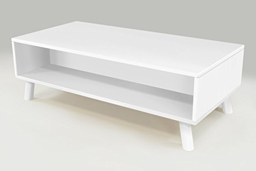 ABC MEUBLES - Table Basse Scandinave rectangulaire Viking Bois - VIKINGTABLB - Blanc
