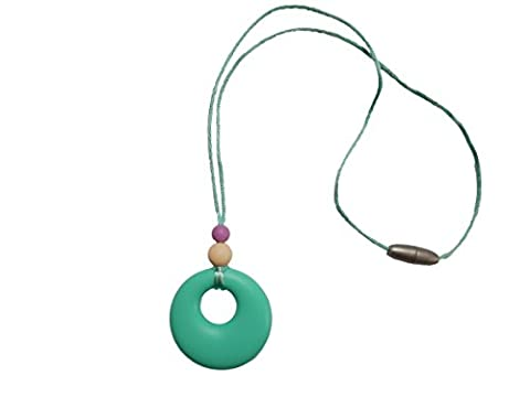 Silicone Teething Necklace Pendant Breastfeeding Baby Nursing Beads BPA Free, Hand-Made by MilkMama, 5 colours (turquoise)