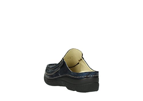 Wolky 6202-621, Zoccoli Donna 10823 marineblau metallic Nubuk