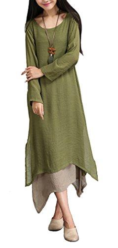 Blansdi Femme Vrac Robe Rétro Tunique en Coton Longue Chemise A-Lin Grande Taille Vintage Robe Vert