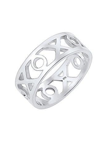 Elli Ring Damen XOXO Wording Geo Trend Blogger in 925 Sterling Silber