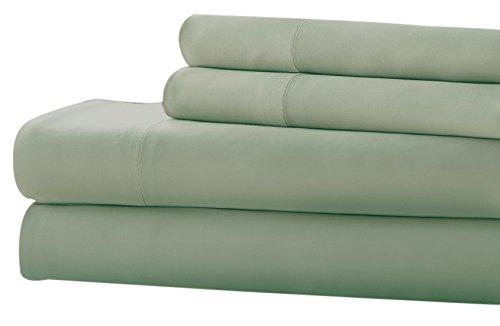 Costa del Pacífico Textiles 3pc T220bambú Ricos sólido Juego de sábanas, Doble, 3Piezas