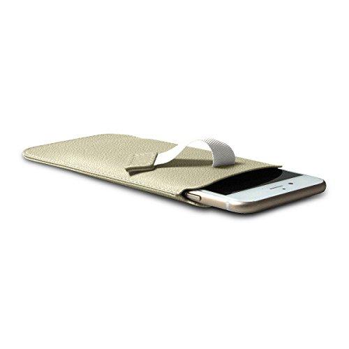 Lucrin - Etui avec languette pour iPhone 8/7/6/6s - Gris Souris - Cuir de Chèvre Blanc Cassé