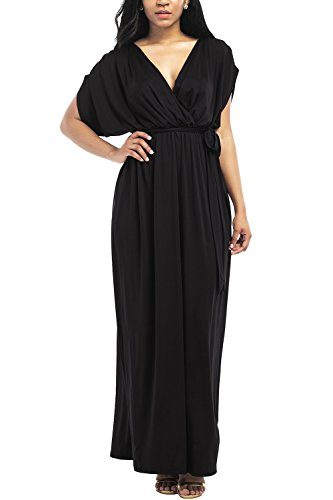 WIWIQS Frauen V-Ausschnitt Stretchy Casual Maxi Plus Size Brautjungfer Kleid, Schwarz, (Jahre Billig Kleider 1920er)