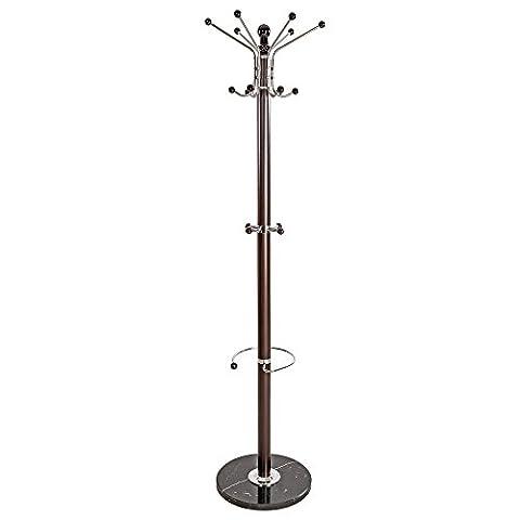 TecTake® Garderobenständer Kleiderständer mit stabiler Steinplatte ca. 170 cm hoch braun Metall
