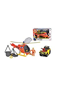 Smoby- Sam 109251014002 - Helicóptero de Bombero, Color Rojo