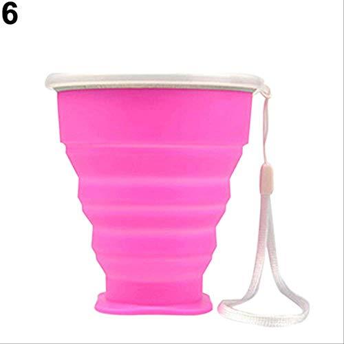 KOUAJ Wasserbecher Tragbare Silikon Folding Wasser Tee Tasse Becher Im Freien Multifunktions Faltbare Tasse für Reisen Camping Rosa -