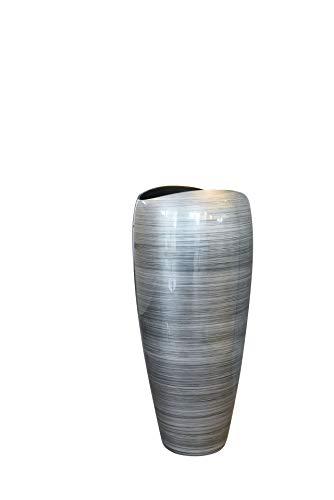 """Pflanzkübel Pflanzgefäß Bodenvase exklusiv \""""Deluxe\"""" Silber Schwarz Hochglanz 100 x 45 cm"""