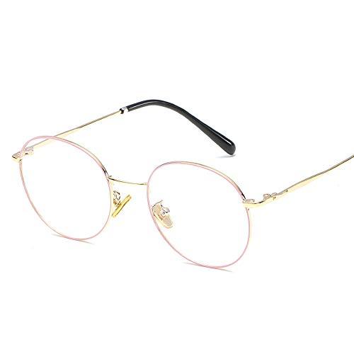 Duhongmei123 Mode Brillen Literarische runde Rahmen Temperament Student Männer Frauen Brillengestell Retro Plain Gläser Occhiali (Color : 02Gold, Size : Kostenlos)