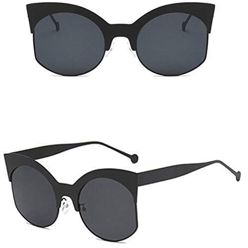 JOOFFF Half Frame Sonnenbrille Schöne und charmante Outdoor-Sonnenbrillen Unisex Klassische Metallrahmen mit Federscharniere, schwarzer Rahmen schwarz grau