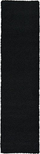 Moderne Solid Plüsch Solo modernes Bereich Teppich, Polypropylen, jet black, 2.5 x 9