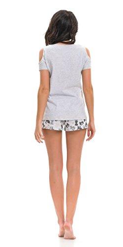 dn nightwear Damen Schlafanzug / Pyjama PM.9246 aus 100% Baumwolle Grau