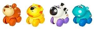 Hasbro - Playskool - 39330 - Eveil - Mini Roulimou - Pack de 4 - Singe / Lion / Zebre / Hippopotame