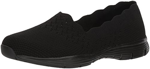 Skechers Women's Seager-Stat-Scalloped Collar, Engineered Skech-Knit Slip-on-Classic Fit Loafer, Black/Black, 9 W US -