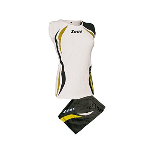 Zeus Damen Volleyball Trikot Hose Shirt Indoor Handball Training Ausbildung KIT KLIMA WEISS SCHWARZ GOLD (M)