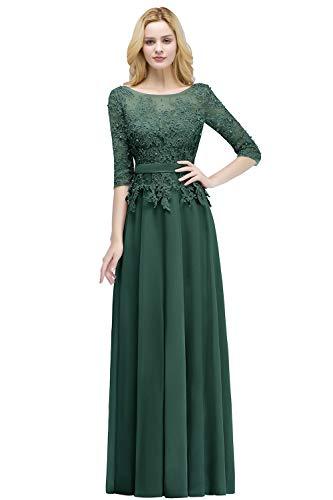4675a5d8d110 Damen Elegant Langarm Abendkleid Chiffon Hochzeitskleid Standesamt  Perlstickerei lang Dunkel Grün 32