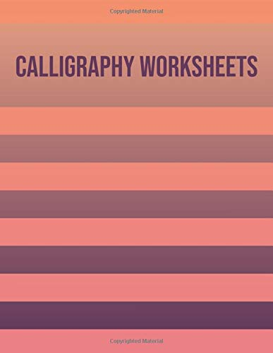 Calligraphy worksheets: Blank practice sheets book with slanted grid paper: Retro orange stripe cover design -