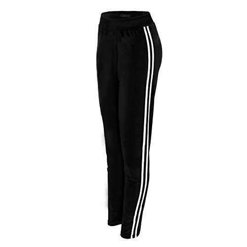 Minni Rossa Womens Ladies Side Stripes Trouser High Elasticated Joggers Tracksuit Bottoms