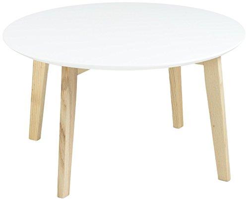 AC Design Furniture Thilde 60333 Table avec Pieds et Dessus en Bois Blanc laqué