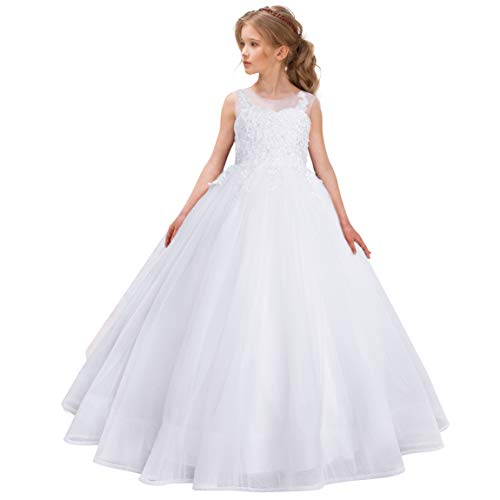 CQDY Blumenmädchen Spitzenkleider Hochzeit Brautjungfer Blumenmädchen Kleid Formale Party Pageant Prom Ballkleid Weihnachten Geburtstag Geschenke (2-3 Jahre, Weiß)